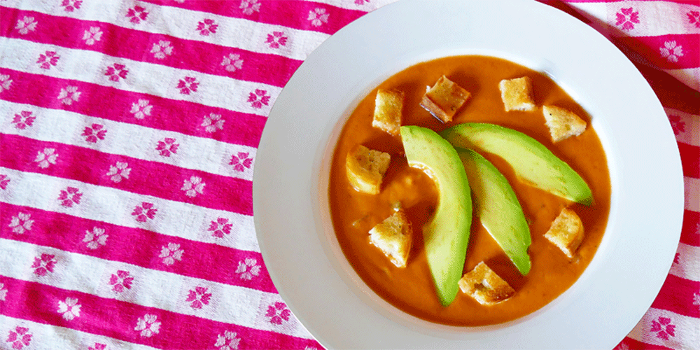 Victoria Cellars' Gazpacho Recipe Garnished With Avocados & Croutons